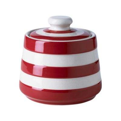 Stoneware Covered Sugar Bowl in Red & White Stripe