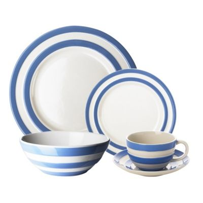 16 Piece Dinnerware Set with Cups & Saucers in Blue & White Stripe