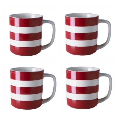 Red & White Stripe Set of 4 Mugs, 10oz