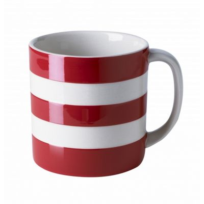 Red & White Stripe Stoneware Large Mug, 15oz
