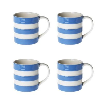 Set of 4 Blue & White Stripe 4oz Espresso Mugs
