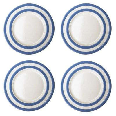 Blue and White Stripe Set of 4 Breakfast Plates 23cm