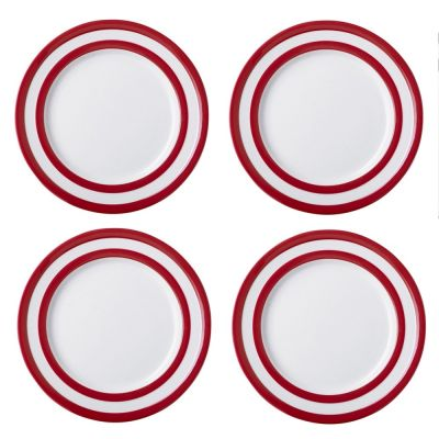 Red and White Stripe Set of 4 Lunch Plates 26cm