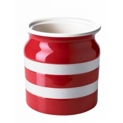 Red & White Stripe Stoneware Utensil Jar