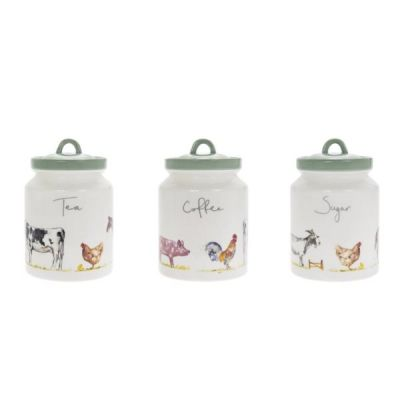Jennifer Rose Collection Country Life Farmyard Tea Coffee Sugar Storage Canister Set