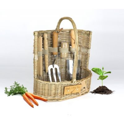 'Dad, I Dig You'  Large Willow Gardening Trug with Tools