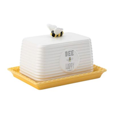 Bee Happy Butter Dish Cloche with Honeycomb Design
