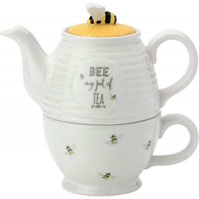 Bee Happy Tea For One Teapot Cup with a  Honeycomb Lid