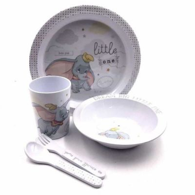 Magical Melamine 5pc Crockery Set Dumbo Plate,Bowl,Fork,Spoon & Cup Gift