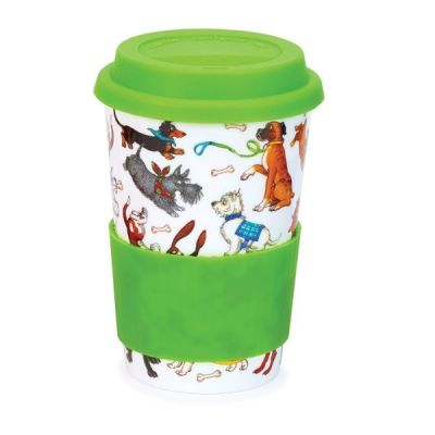 Dogs Galore Ceramic Travel Mug Cup with Silicone Lid & Sleeve 440ml