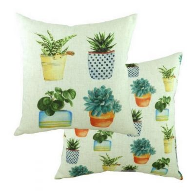 Pots of Nature Succulents Plant Square Filled Linen-Blend Cushion 43cm