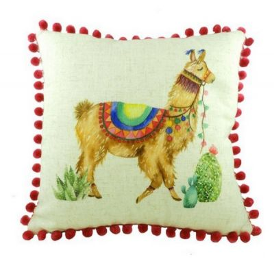 Square Pom Pom Fantasy Llama Filled Linen Cushion 43cm