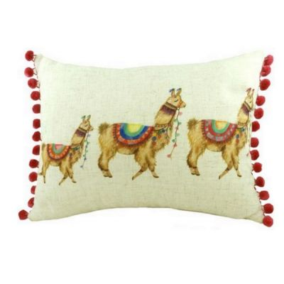 Rectangular Pom Pom Fantasy Llama Filled Linen Cushion 43cm x 33cm