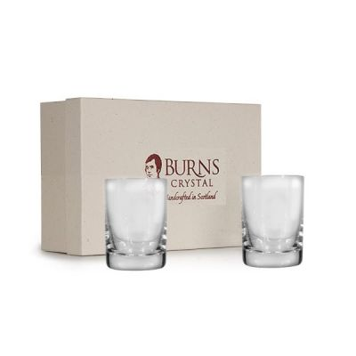 Crystal Dram Shot Glass Pair 2oz Round Design, Set of 2 from Burns Handcrafted Crystal
