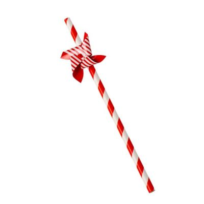 Set of 12 Paper Windmill Drinking Straws Red & White
