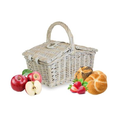 Whitewash Wicker Pinic Basket