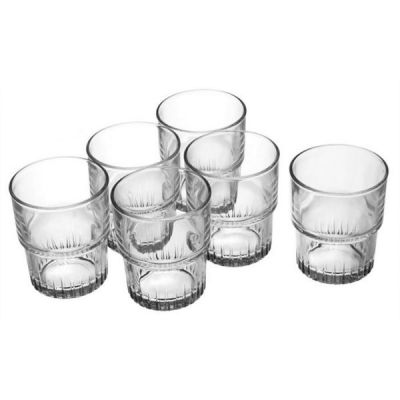 Empilable Set of 6 Glass Tumblers, 160ml