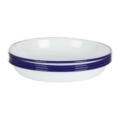 Set of 4 Deep Side Plates Plate Dish White with Blue Rim Enamel
