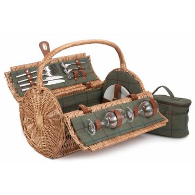 "Fitted 18"" Tweed Barrel Willow Picnic Hamper for 2 with Chiller Compartment"