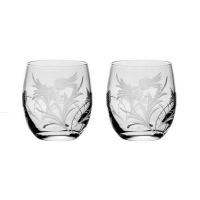 Set of 2 Flower of Scotland Hand Cut Glass Whisky Barrel Tumblers