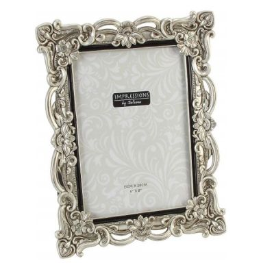 "Antique Silver Ornate Photo Frame 6"" x 8"""