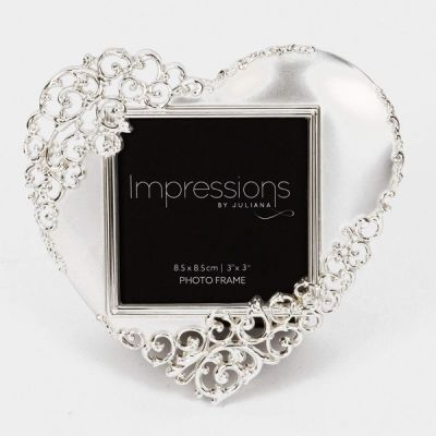 "Silver Plated Ornate Heart Photo Frame 3"" x 3"""