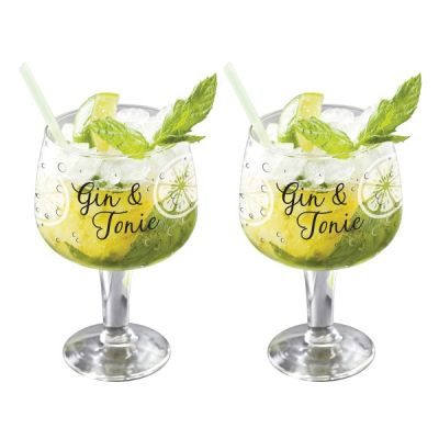 large gin glasses with gin and tonic inscription