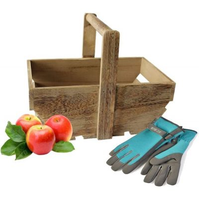 oak effectveg  trug made from wood featuring gardening gloves and apples