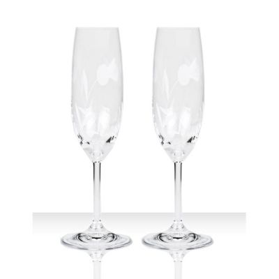 Flower of Scotland Hand Cut Crystal Champagne Flute Pair, Set of 2 from Burns Handcrafted Crystal