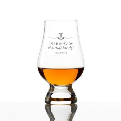 My Heart's in The Highland's Engraved  Whisky Glass