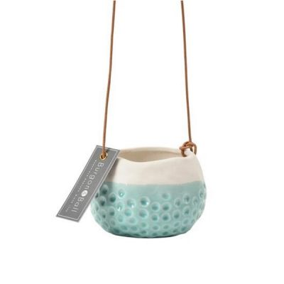 Glazed Hanging House Plant Pot in Baby Dotty Design