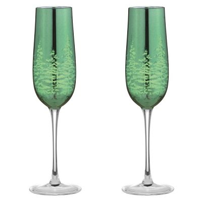 Festive Set of 2 Green Flute Champagne Glasses 25cl