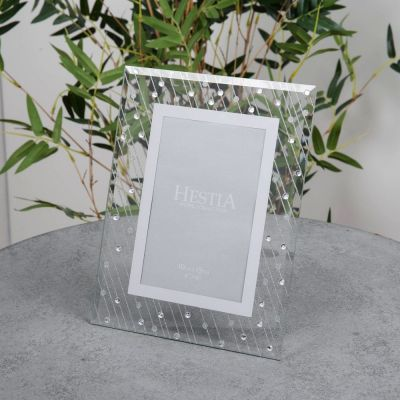 "Mirror Glass Raindrop Design Photo Frame 4"" x 6"""