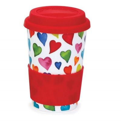 Hearts Galore Ceramic Travel Mug Cup with Silicone Lid & Sleeve 440ml
