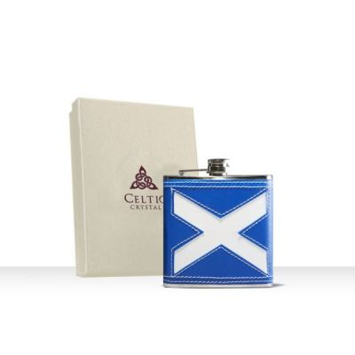 Stainless Steel Saltire Hip Flask with Leather Finish 6oz
