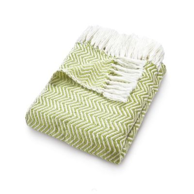 Herringbone Woven Throw Blanket Made from Recycled Plastic Bottles in Green
