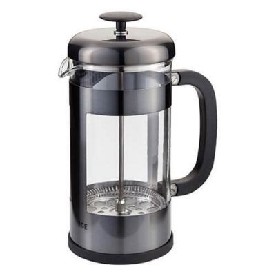 8 Cup Glass Coffee Espresso Cafetiere Maker in Pewter 1 Litre