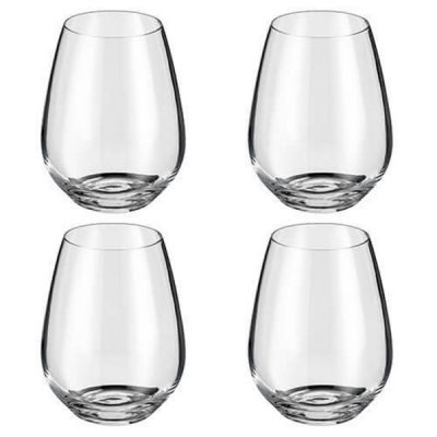 Set of 4 Crystalline Stemless Wine Cocktail Glasses Glass 400ml