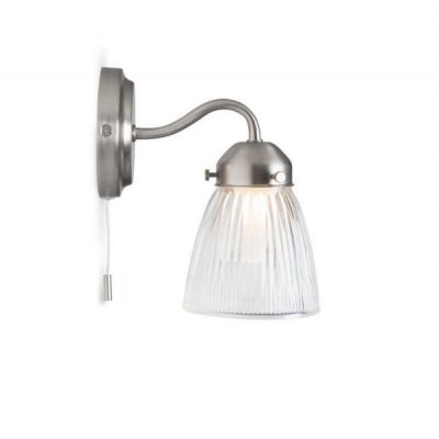 Pimlico Bathroom Wall Light in Glass and Nickel