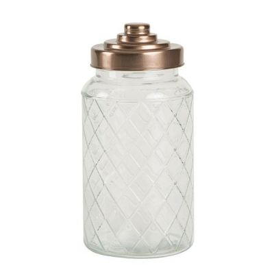 Lattice Glass Jar with Copper Finish Lid, Large