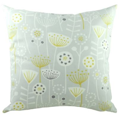Grey and White Nordic Seedheads Filled Cushion
