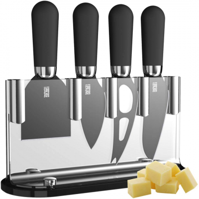 Brooklyn Cheese Knife Set and Stand in Chrome