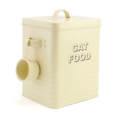 Home Sweet Home Vintage Cat Food Storage Tin in Cream by Lesser & Pavey