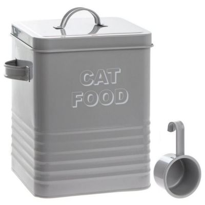 Home Sweet Home Vintage Cat Food Storage Tin in Grey