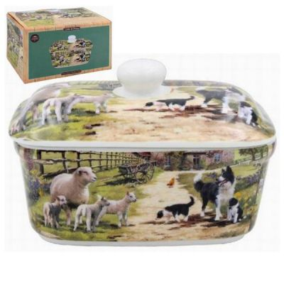 Collie & Sheep Country Farmhouse Butter Dish
