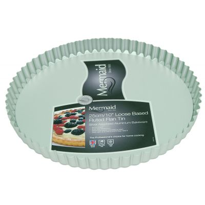 Silver Anodised Fluted Flan Tin, Loose Base, 10""
