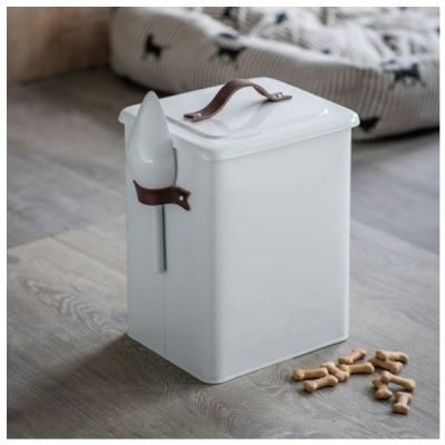 Pet Bin Food Storage with Scoop and Leather Handles Crafted Steel in Carbon Finish Medium