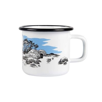 Moomin The Island Mug Enamel Cup in White 37cl 12.5fl oz