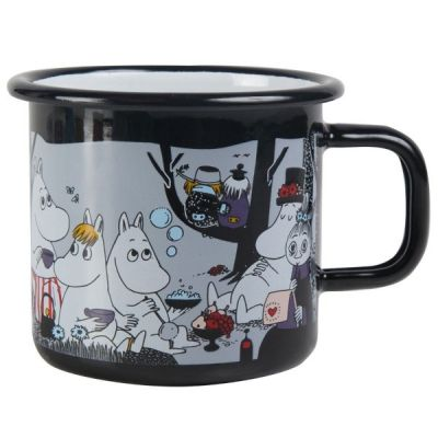 Moomin Picnic Mug Enamel Cup in Black 37cl 12.5fl oz