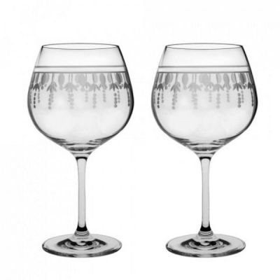 Pair of Hand Cut Nouveau Gin Copa Glasses 22oz Gift Boxed